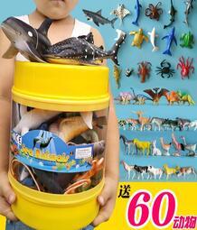 軟膠仿真海底洋動物玩具模型套裝鯊魚企鵝海龜豚藍鯨龍蝦生物禮盒