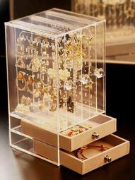 耳環收納盒   精致展示架   耳釘項鏈   ins風首飾收納架   家用大容量耳飾收納盒