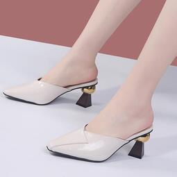 韓版包頭皮面涼拖鞋女高跟2020年夏季新款懶人外穿粗跟防滑穆勒鞋